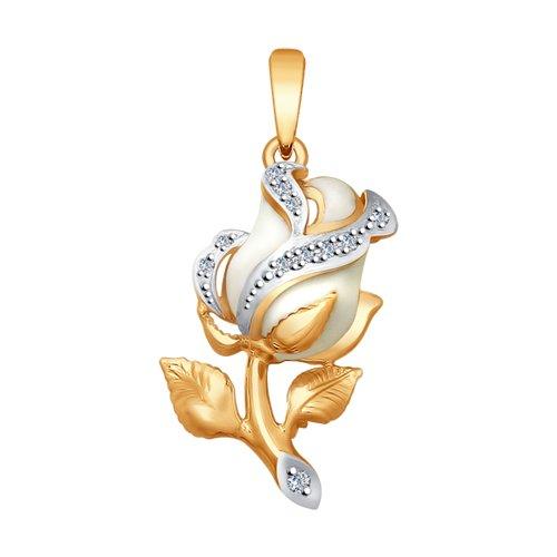 """Подвеска """"Роза"""" из золота с эмалью и бриллиантами"""
