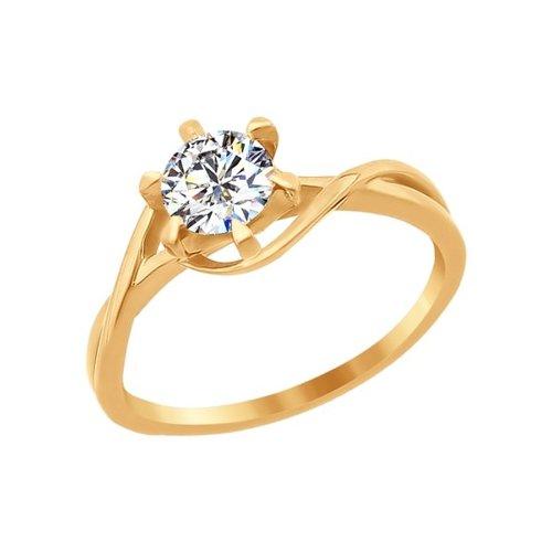 Помолвочное кольцо из золота со Swarovski Zirconia (81010081) - фото