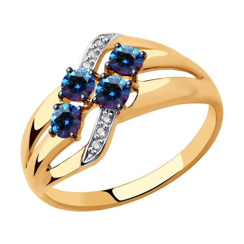 Кольцо из золота с бесцветными и синими Swarovski Zirconia (81010450) - фото