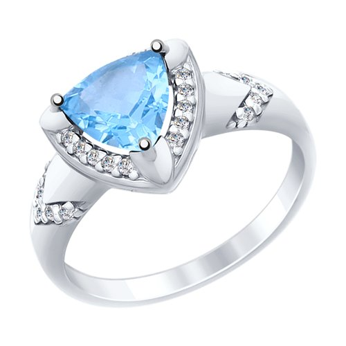 Кольцо из серебра с топазом и фианитами (92011454) - фото