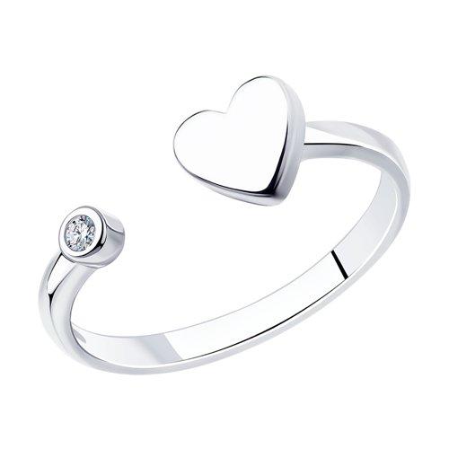 Кольцо SOKOLOV из серебра с сердечком позолоченное открытое кольцо с сердечком из стерлингового серебра 925 пробы cheng centennial