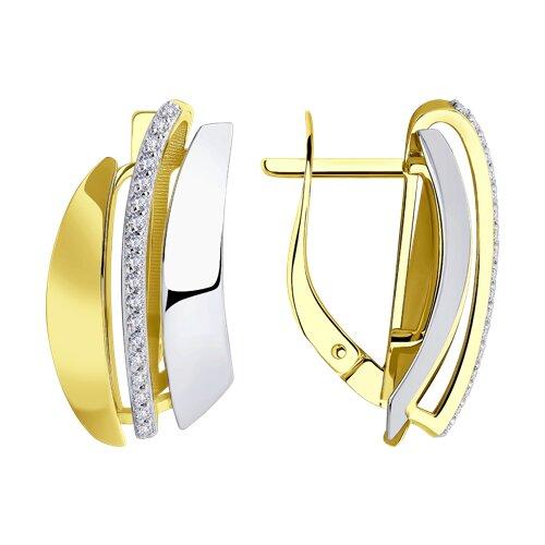 Серьги из желтого золота с фианитами 028819-2 sokolov фото