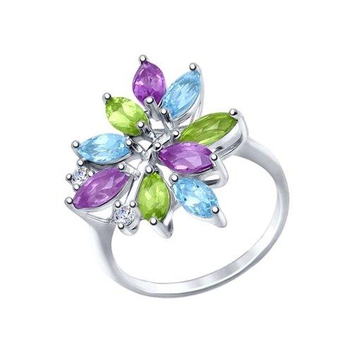 Серебряное кольцо с миксом SOKOLOV из камней кольцо листок с миксом камней sokolov