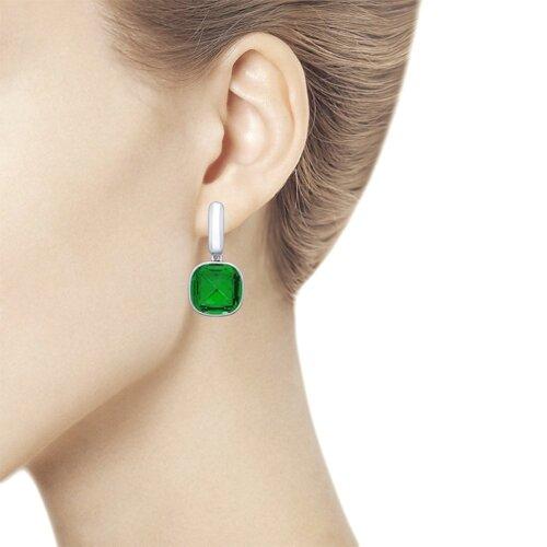 Серьги из серебра с зелёными кристаллами Swarovski