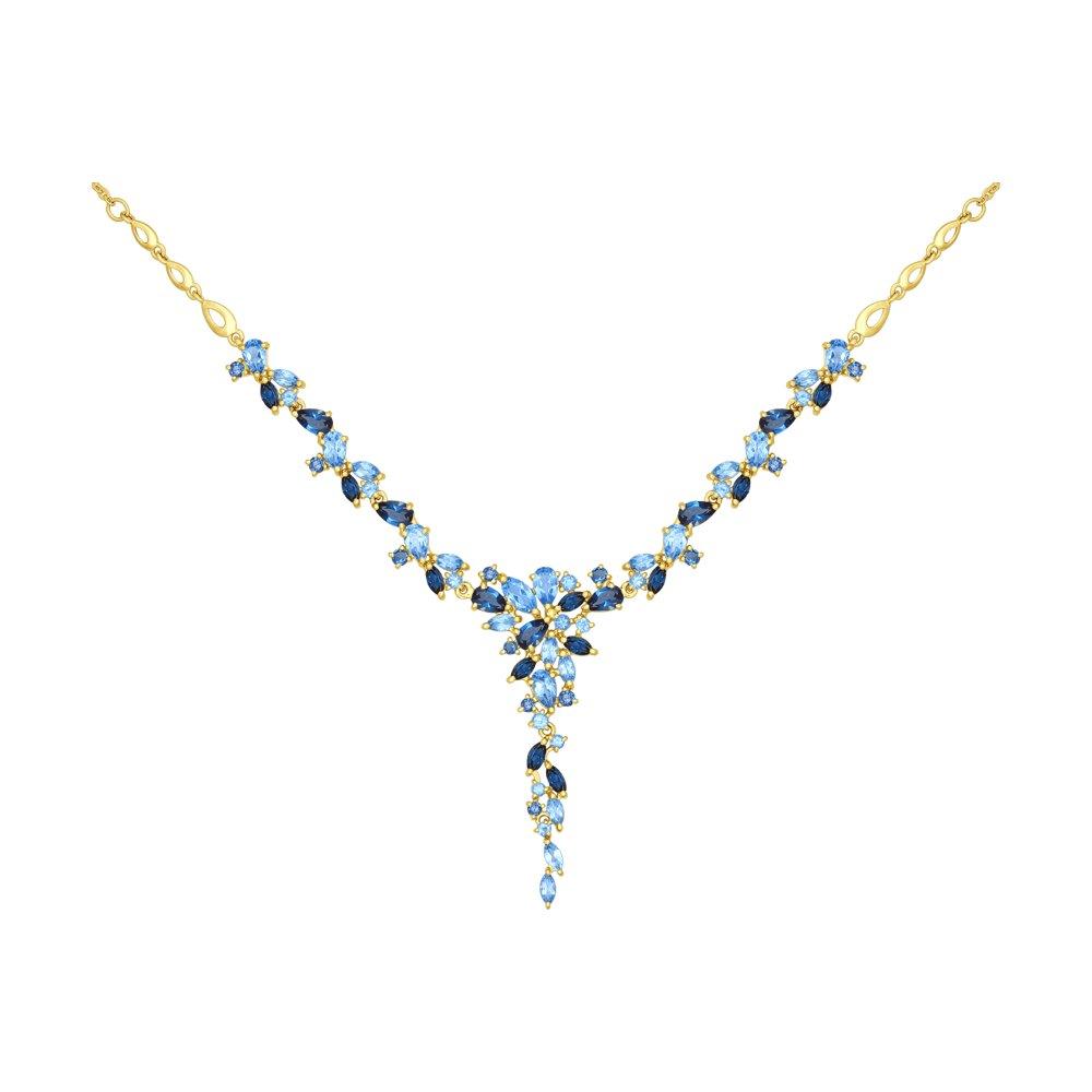 Колье SOKOLOV из желтого золота с голубыми и синими топазами колье с топазами и бриллиантами из желтого золота valtera 69493