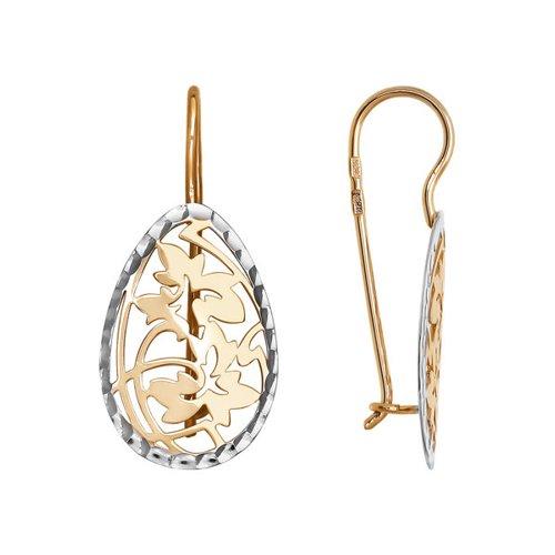 Золотые ажурные серьги с алмазной гранью SOKOLOV