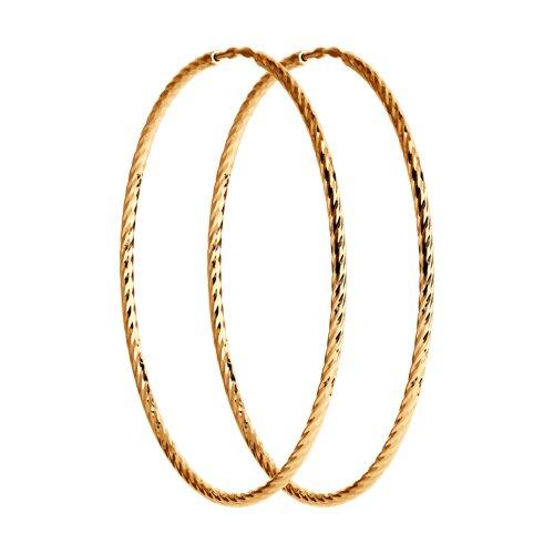 Серьги конго из золота с алмазной гранью (140149) - фото
