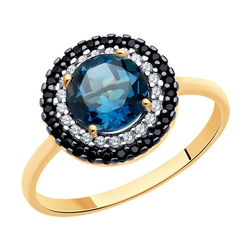 Кольцо из золота с синим топазом и бесцветными и чёрными фианитами (714973) - фото