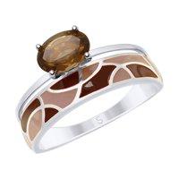 Кольцо из серебра с эмалью и раухтопазом