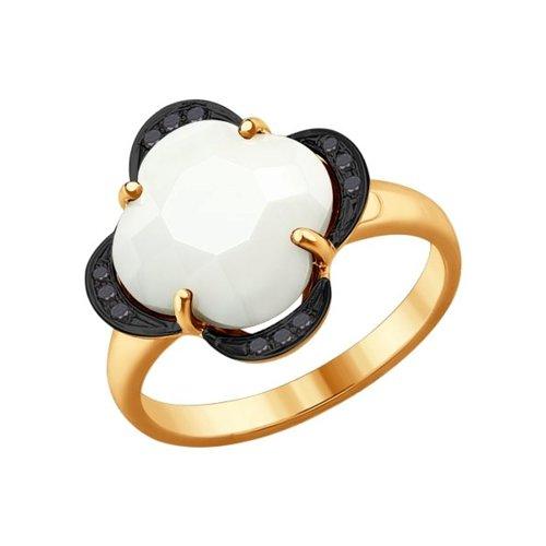 Кольцо из золота с чёрными бриллиантами и керамической вставкой