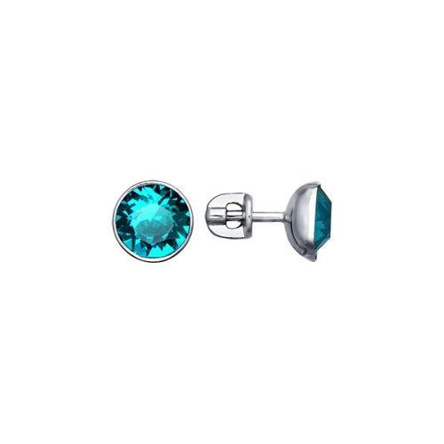 Серьги-пусеты из серебра с голубыми кристаллами swarovski