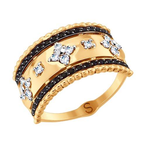 Кольцо из золота с фианитами (017758) - фото