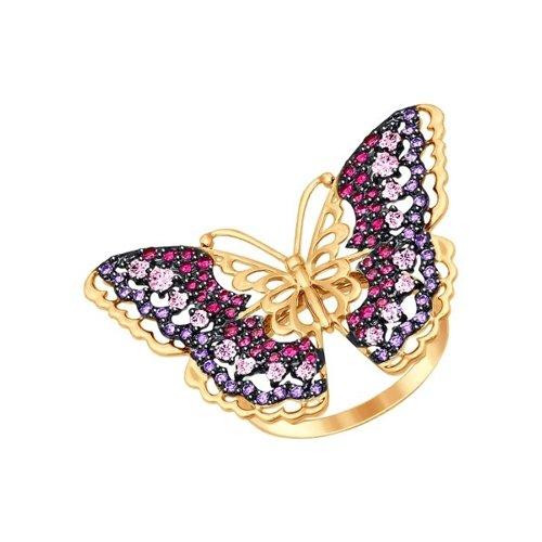 Фото - Кольцо SOKOLOV из золота с розовыми, красными и сиреневыми фианитами подвеска sokolov из золота с розовыми сиреневыми и красными фианитами