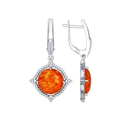 Серьги длинные из серебра с оранжевыми опалами и фианитами