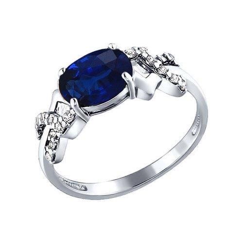 цена Кольцо SOKOLOV из серебра с синим фианитом онлайн в 2017 году