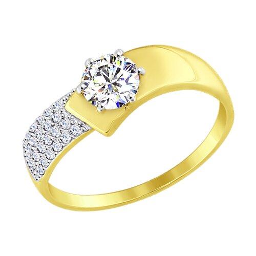 Кольцо из желтого золота с фианитами (017402-2) - фото