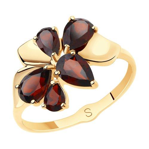 Кольцо из золота с гранатами (715612) - фото