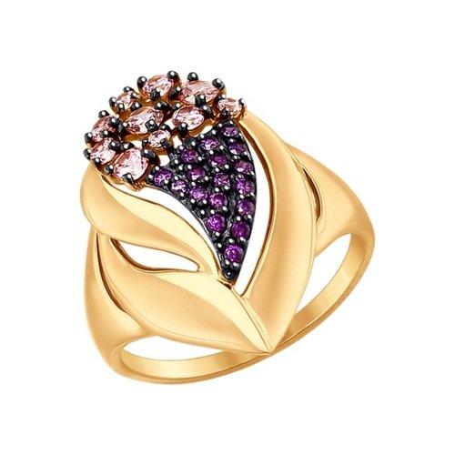 Кольцо из золота с сиреневыми и розовыми фианитами