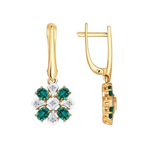 Серьги длинные из золота с бриллиантами и изумрудами