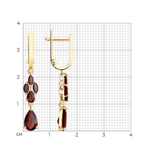 Серьги из золота с гранатами 726031 SOKOLOV фото 2