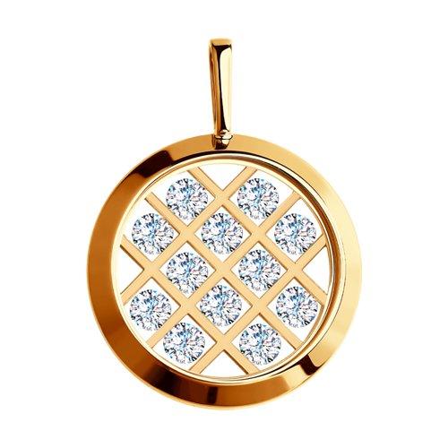 Подвеска из золота со Swarovski Zirconia и минеральным стеклом (035465) - фото