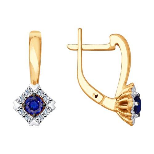 Серьги из золота с бриллиантами и синими корундами (синт.) (6022127) - фото
