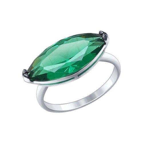 Кольцо из серебра с зелёным ситаллом