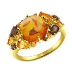 Кольцо из желтого золота с миксом камней