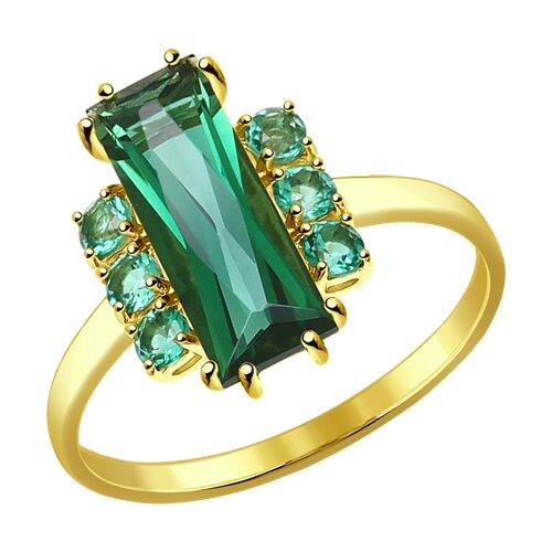 Кольцо из желтого золота с кварцем (714309-2) - фото