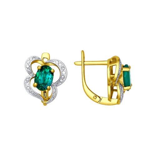 Фото - Серьги SOKOLOV из жёлтого золота с бриллиантами и изумрудами серьги сердечки с 6 изумрудами из жёлтого золота