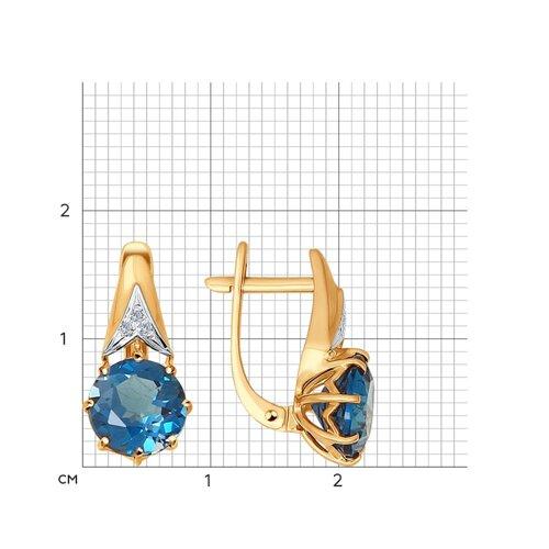 Серьги из золота с бриллиантами и топазами