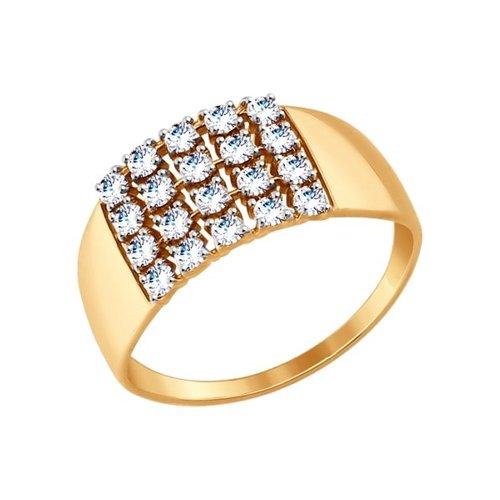 Кольцо из золота с фианитами (017356) - фото