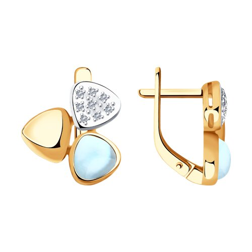 Серьги из золота с бриллиантами и дуплетами из топаза и перламутра