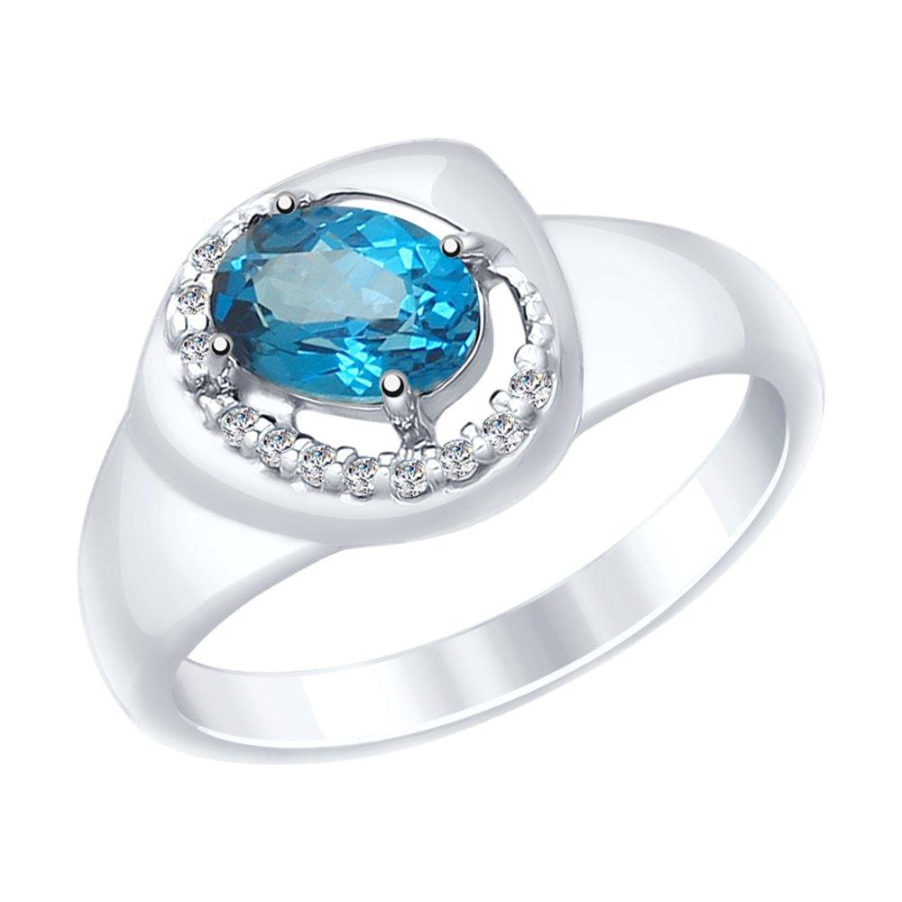 Кольцо SOKOLOV из серебра с синим топазом и фианитами фото