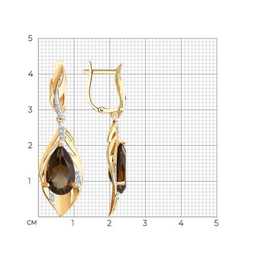 Серьги из золота с раухтопазами и фианитами 727251 SOKOLOV фото 2