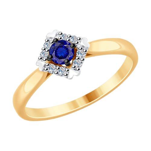 Кольцо из золота с бриллиантами и синим корунд (синт.) (6012126) - фото