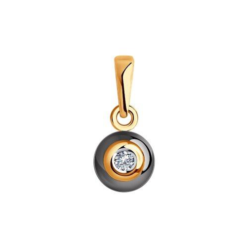 Подвеска из золота с бриллиантом и керамикой (6035037) - фото