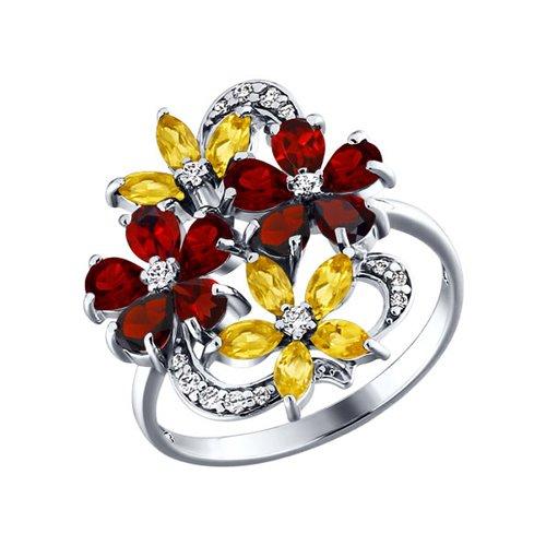 Кольцо с яркими цветками SOKOLOV из гранатов и цитринов золотое кольцо с двумя цветками sokolov