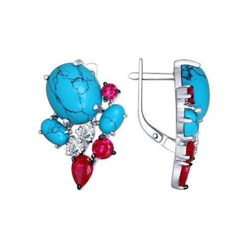 Серьги из серебра с бирюзой (синт.) и красными фианитами (83020025) - фото