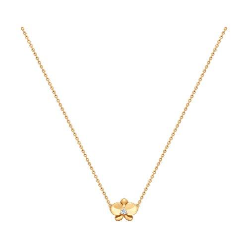 Колье из золота с фианитом (8-070007) - фото