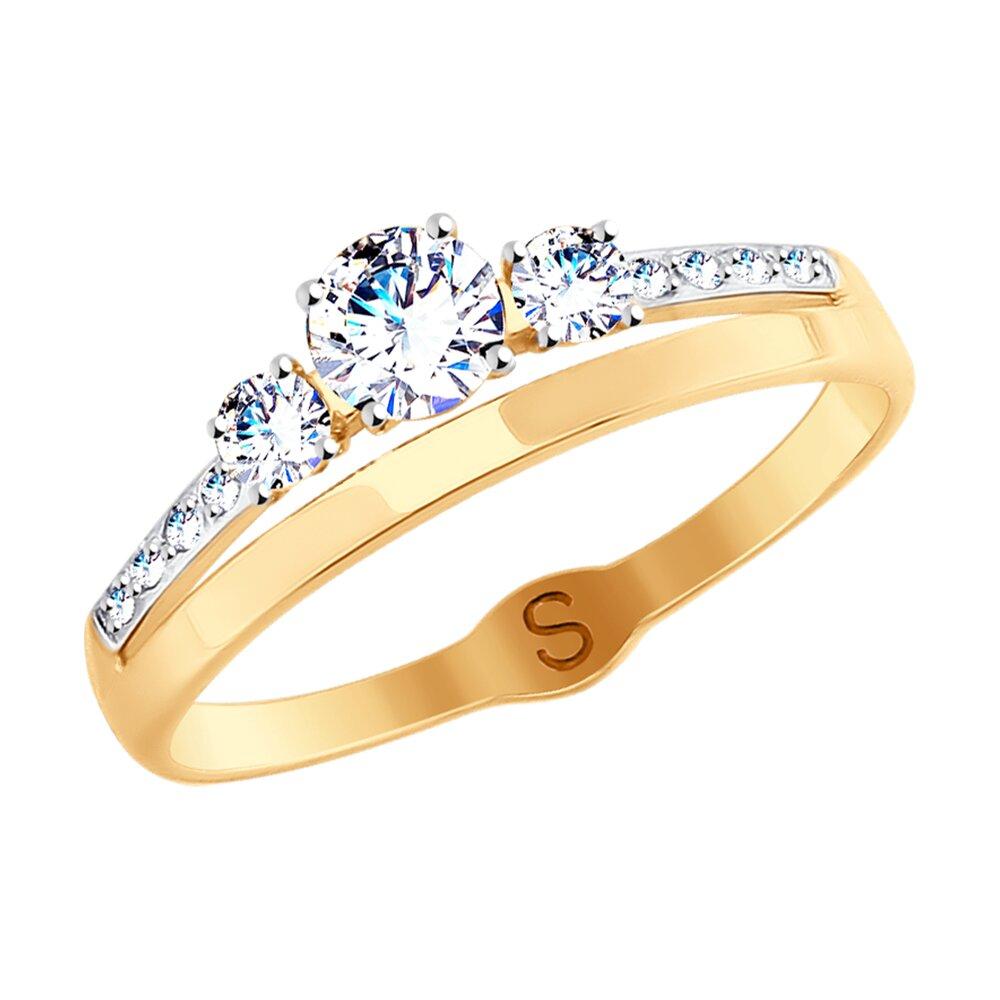 Кольцо SOKOLOV из золота с родированием с фианитами недорого