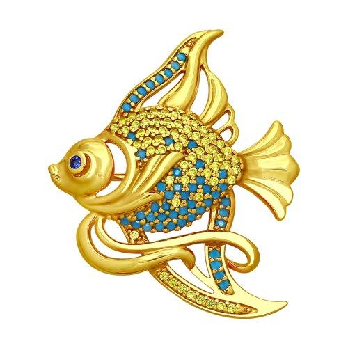 Брошь «Рыбка» с ситаллами и фианитами