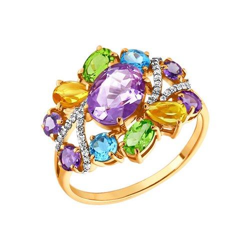 Коктейльное кольцо с разноцветными вставками SOKOLOV