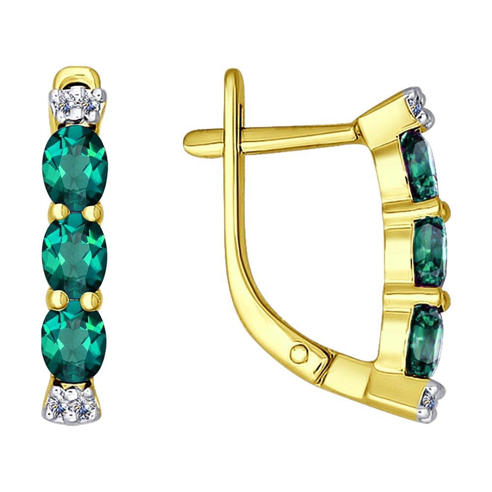 Серьги SOKOLOV из желтого золота с бриллиантами и изумрудами серьги с изумрудами и бриллиантами из желтого золота 43362
