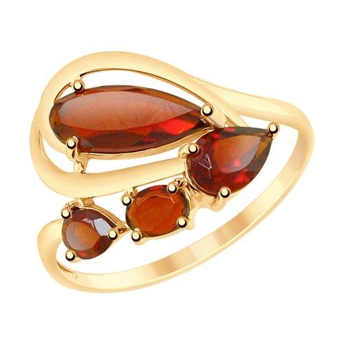 Кольцо из золота с гранатами (715194) - фото