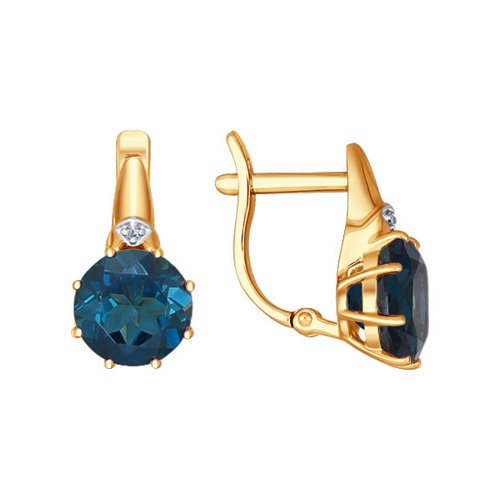 Серьги из золота с топазами и фианитами (724065) - фото