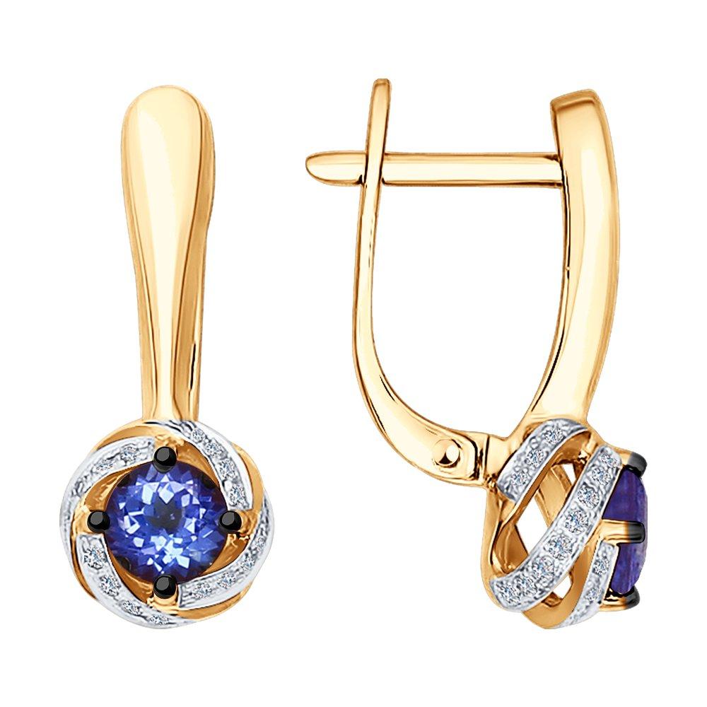 Серьги SOKOLOV из золота с бриллиантами и танзанитами фото