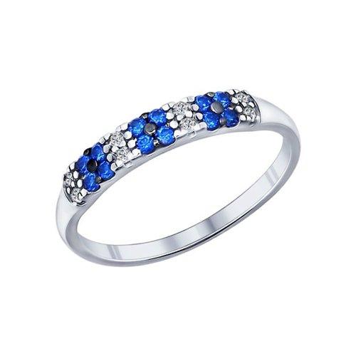Кольцо из серебра с фианитами (94011719) - фото