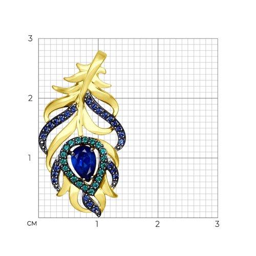 Подвеска из желтого золота с зелеными и синими фианитами (034934-2) - фото №2