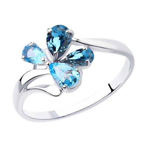 Кольцо из серебра с голубыми и синими топазами (92011824) - фото